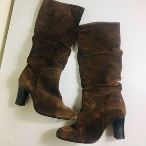 Franco Sarto brown suede heeled boots size 7